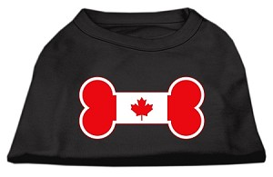 Bone Shaped Canadian Flag Screen Print Shirts Black S (10)
