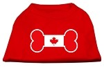 Bone Shaped Canadian Flag Screen Print Shirts Red S
