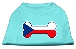 Bone Shaped Czech Republic Flag Screen Print Shirts Aqua XS