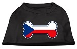 Bone Shaped Czech Republic Flag Screen Print Shirts Black XS