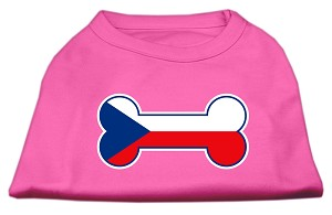 Bone Shaped Czech Republic Flag Screen Print Shirts Bright Pink XL (16)