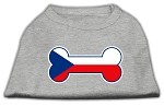 Bone Shaped Czech Republic Flag Screen Print Shirts Grey XS