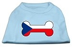 Bone Shaped Czech Republic Flag Screen Print Shirts Baby Blue XS