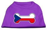 Bone Shaped Czech Republic Flag Screen Print Shirts Purple XS