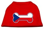 Bone Shaped Czech Republic Flag Screen Print Shirts Red XS