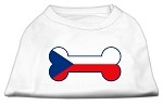 Bone Shaped Czech Republic Flag Screen Print Shirts White XS