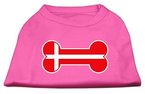 Bone Shaped Denmark Flag Screen Print Shirts Bright Pink XXL (18)