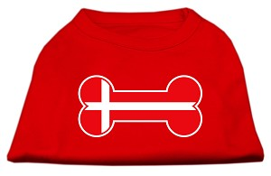 Bone Shaped Denmark Flag Screen Print Shirts Red XXL (18)