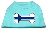Bone Shaped Finland Flag Screen Print Shirts Aqua XS