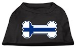 Bone Shaped Finland Flag Screen Print Shirts Black XS