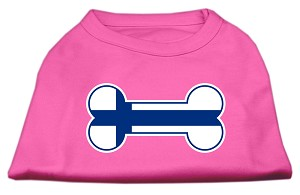 Bone Shaped Finland Flag Screen Print Shirts Bright Pink XS