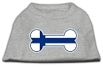 Bone Shaped Finland Flag Screen Print Shirts Grey XS