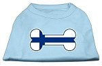Bone Shaped Finland Flag Screen Print Shirts Baby Blue XS