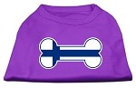 Bone Shaped Finland Flag Screen Print Shirts Purple XS