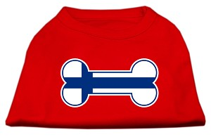 Bone Shaped Finland Flag Screen Print Shirts Red S (10)