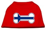 Bone Shaped Finland Flag Screen Print Shirts Red XS