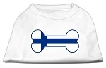 Bone Shaped Finland Flag Screen Print Shirts White XS