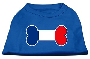 Bone Shaped France Flag Screen Print Shirts Blue Med (12)
