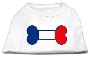 Bone Shaped France Flag Screen Print Shirts White L