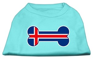 Bone Shaped Iceland Flag Screen Print Shirts Aqua XL