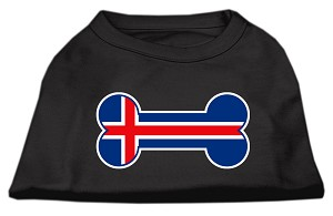 Bone Shaped Iceland Flag Screen Print Shirts Black M (12)