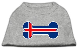 Bone Shaped Iceland Flag Screen Print Shirts Grey L (14)