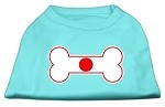 Bone Shaped Japan Flag Screen Print Shirts Aqua XS (8)