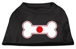 Bone Shaped Japan Flag Screen Print Shirts Black XS (8)