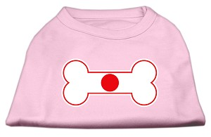 Bone Shaped Japan Flag Screen Print Shirts Light Pink M (12)