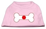 Bone Shaped Japan Flag Screen Print Shirts Light Pink XS (8)
