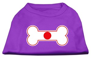 Bone Shaped Japan Flag Screen Print Shirts Purple M (12)