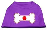 Bone Shaped Japan Flag Screen Print Shirts Purple XS (8)