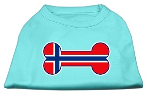 Bone Shaped Norway Flag Screen Print Shirts Aqua M (12)