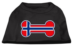 Bone Shaped Norway Flag Screen Print Shirts Black XXL