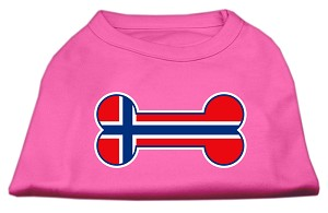 Bone Shaped Norway Flag Screen Print Shirts Bright Pink XXL (18)