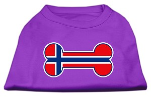 Bone Shaped Norway Flag Screen Print Shirts Purple XXL