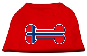 Bone Shaped Norway Flag Screen Print Shirts Red L
