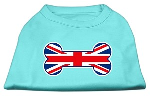 Bone Shaped United Kingdom (Union Jack) Flag Screen Print Shirts Aqua XL (16)