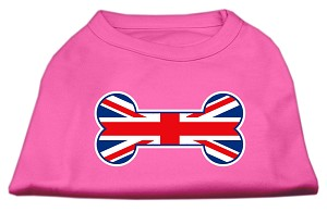 Bone Shaped United Kingdom (Union Jack) Flag Screen Print Shirts Bright Pink XXL (18)