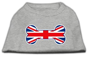 Bone Shaped United Kingdom Flag Screen Print Shirts Grey XXXL