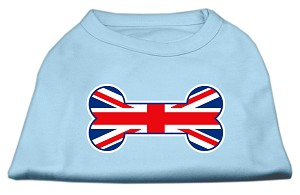 Bone Shaped United Kingdom (Union Jack) Flag Screen Print Shirts Baby Blue XXL (18)