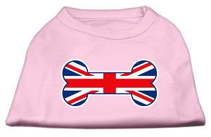 Bone Shaped United Kingdom (Union Jack) Flag Screen Print Shirts Light Pink XXXL(20)