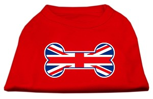 Bone Shaped United Kingdom Flag Screen Print Shirts Red XS