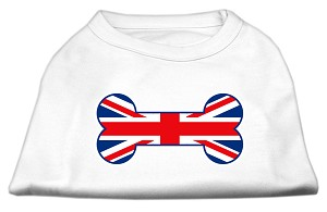 Bone Shaped United Kingdom (Union Jack) Flag Screen Print Shirts White S (10)