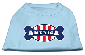 Bonely in America Screen Print Shirt Baby Blue Med