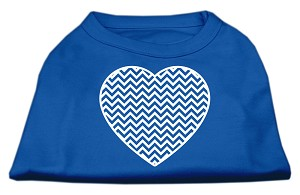 Chevron Heart Screen Print Dog Shirt Blue Sm (10)