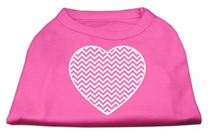 Chevron Heart Screen Print Dog Shirt Bright Pink Med (12)