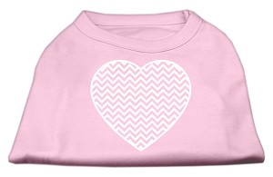 Chevron Heart Screen Print Dog Shirt Light Pink Sm (10)
