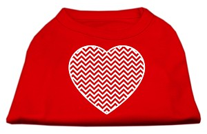 Chevron Heart Screen Print Dog Shirt Red Lg (14)