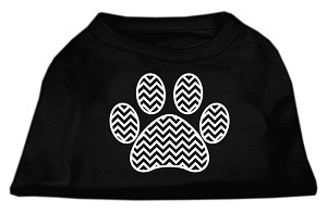 Chevron Paw Screen Print Shirt Black XS (8)